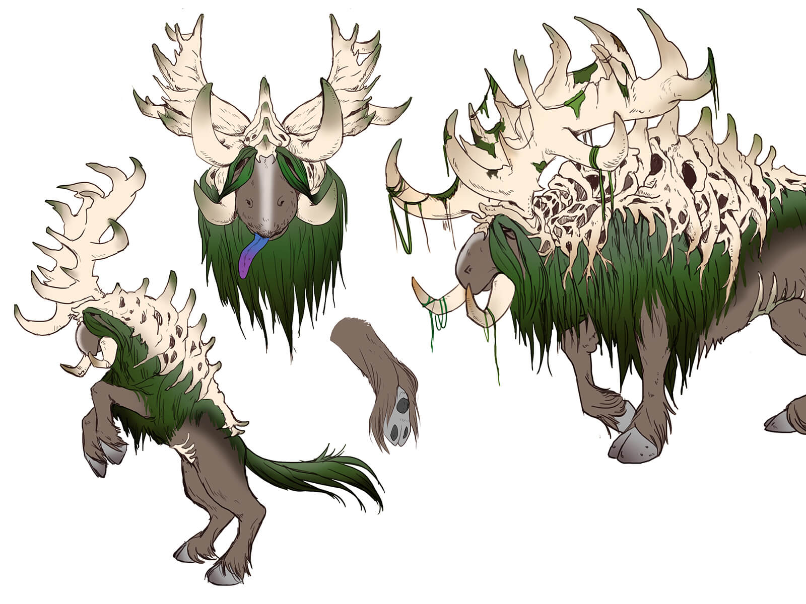 Sketches of a tusked, elk-like beast with mossy green fur topped with expansive skeletal antler structures along its back.