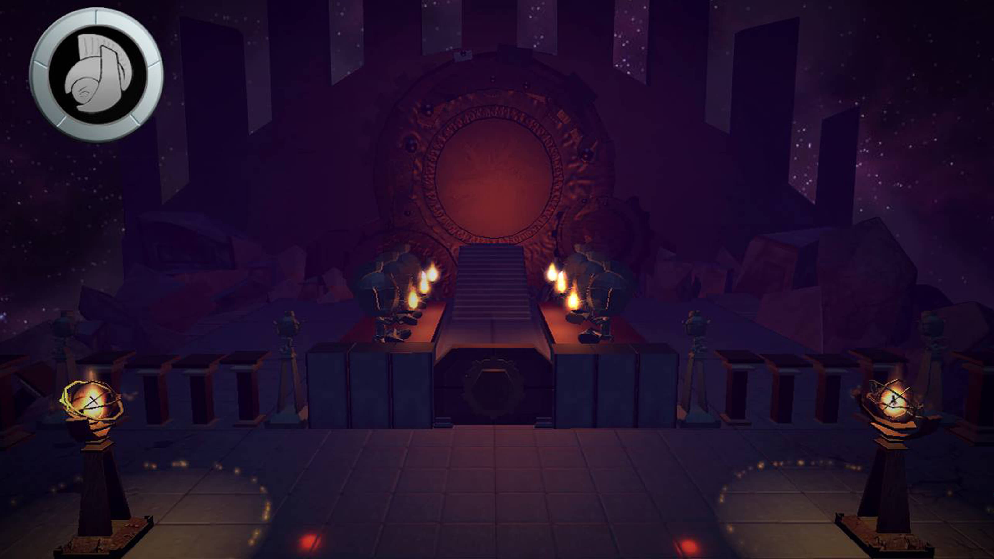 A flame-lit shrine sits empty on the world of Aratea