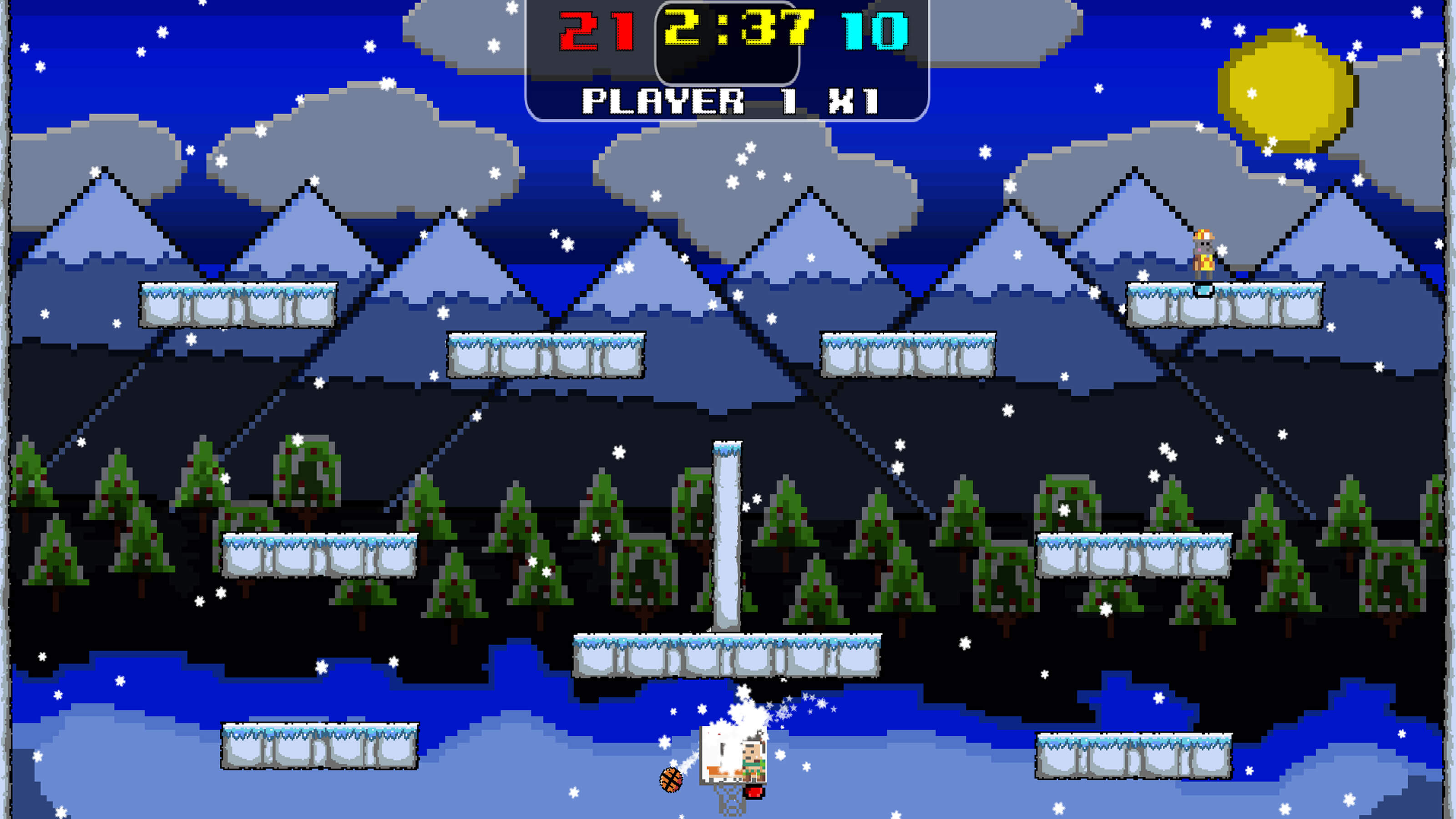 A playable character stands on an icy platform with snow-topped mountains in the background