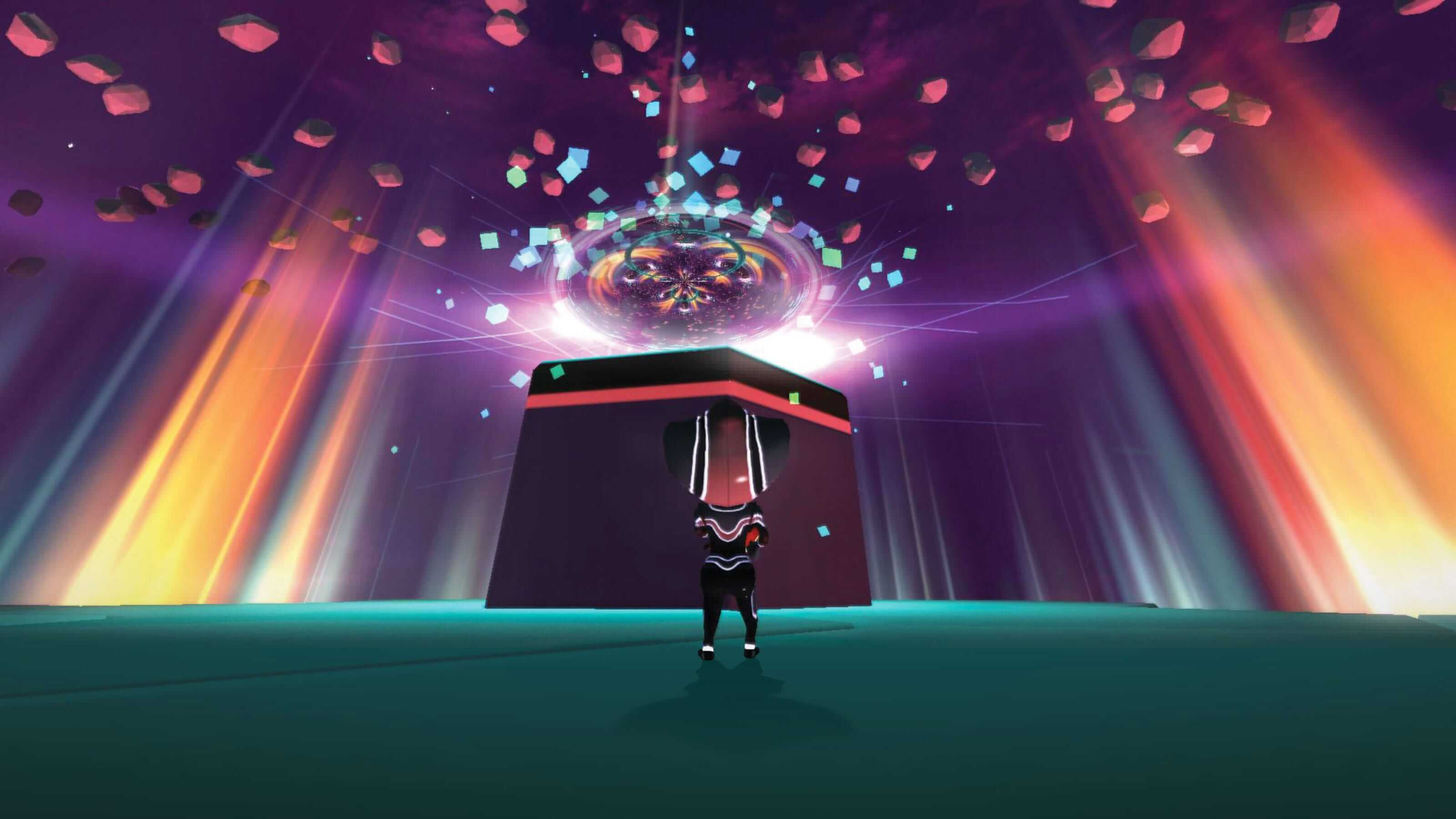 The player's character stares up at a raised platform as red, green, and blue blocks, rays, and particles swirl above