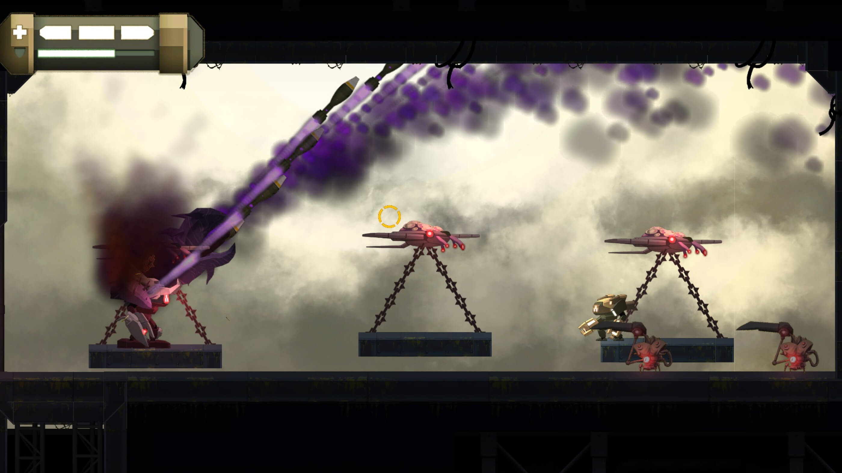 Yellow mech stands atop a platform being carried by pink flying machines