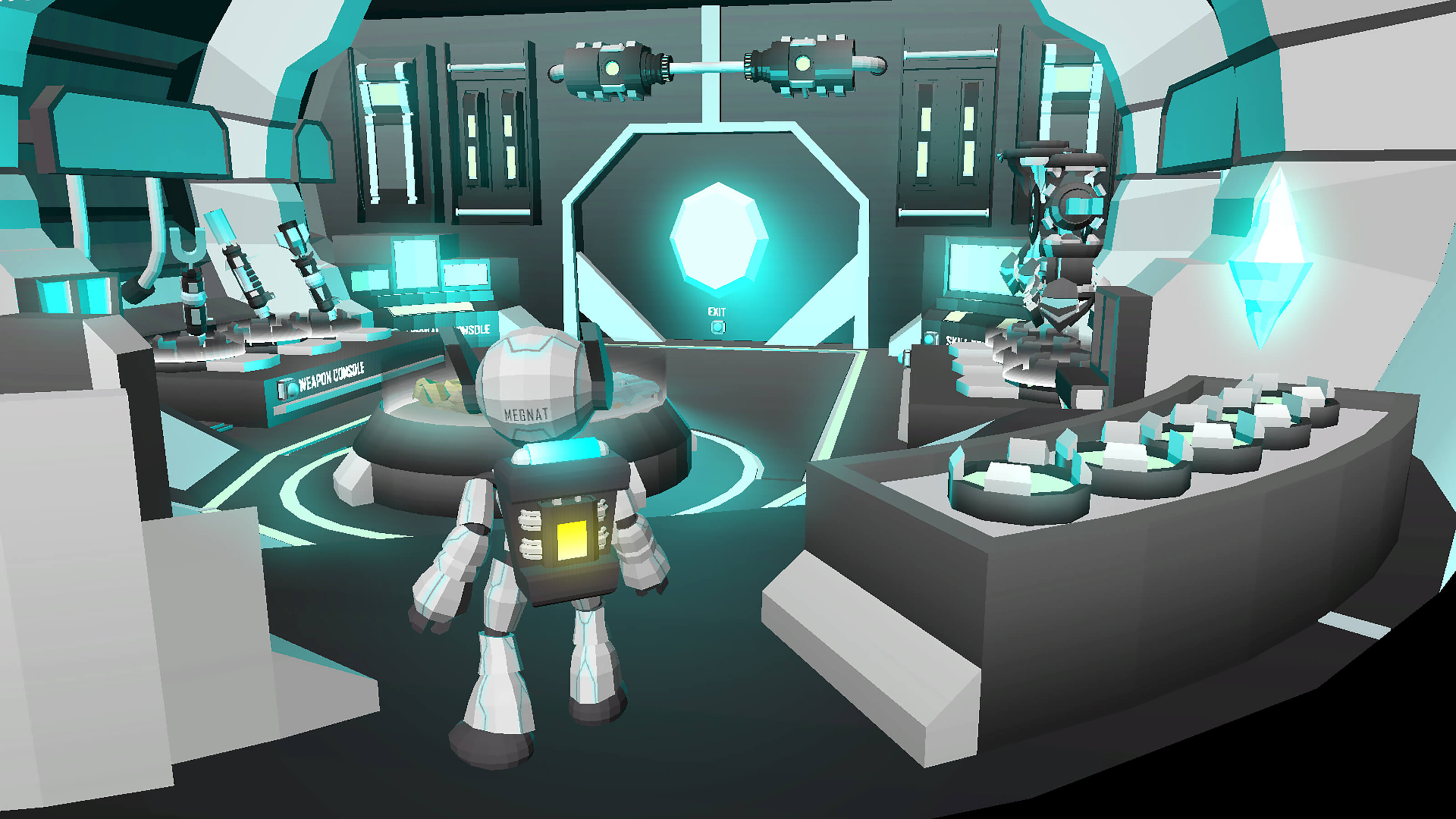 A futuristic white robot seen from behind standing in a blue-hued laboratory filled with technological consoles.