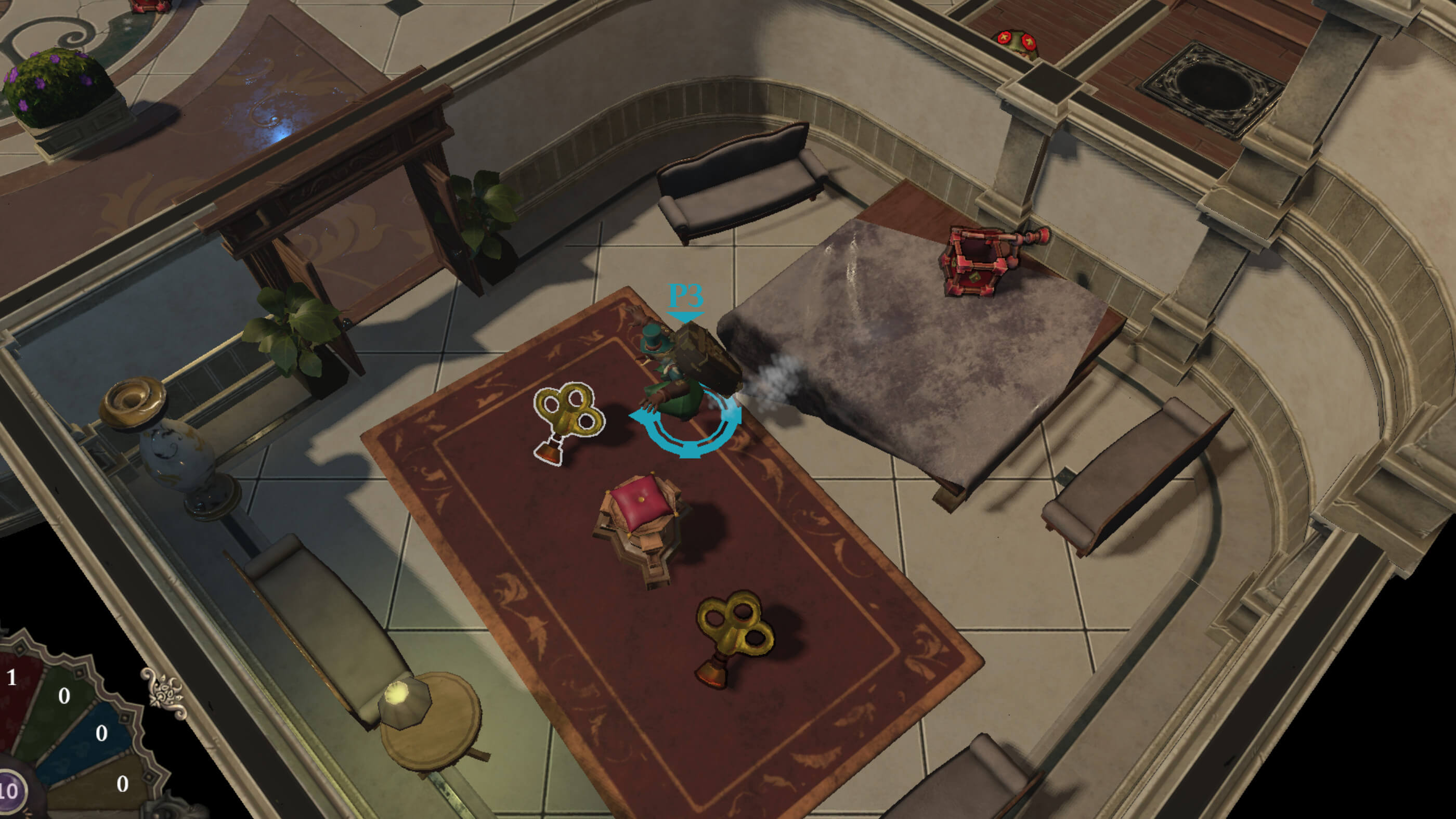 Top-down view of player running to collect an item in a small room