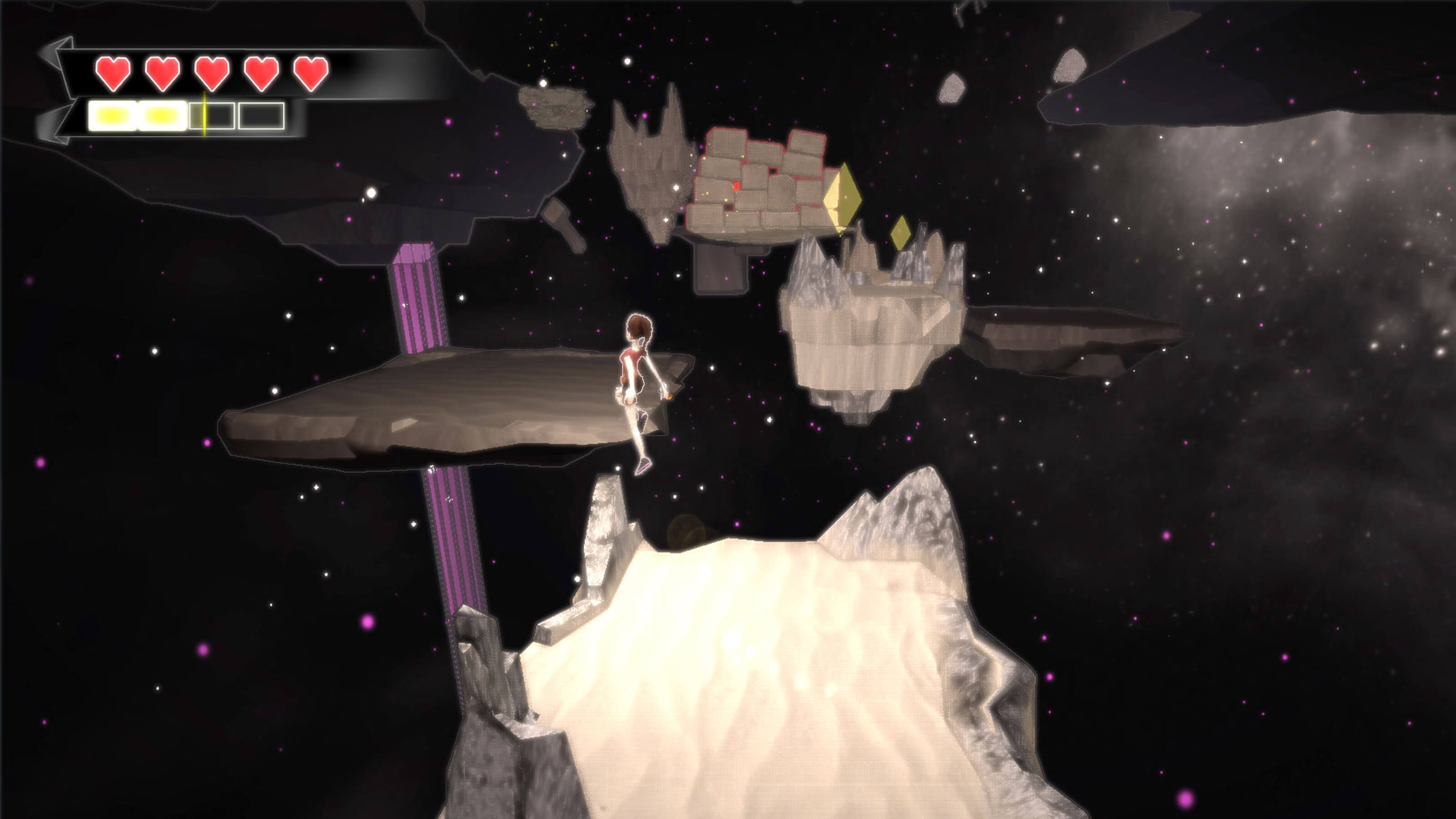 The player's character jumps from a sandy platform floating in space across a large void to another platform