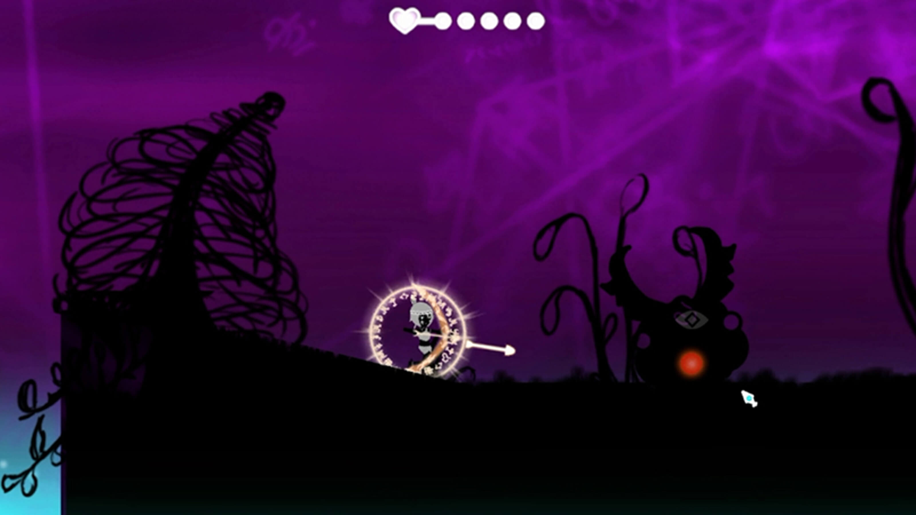 The player's character shoots a shining white arrow at an enemy. She is surrounded by a circle of glowing, white runes.
