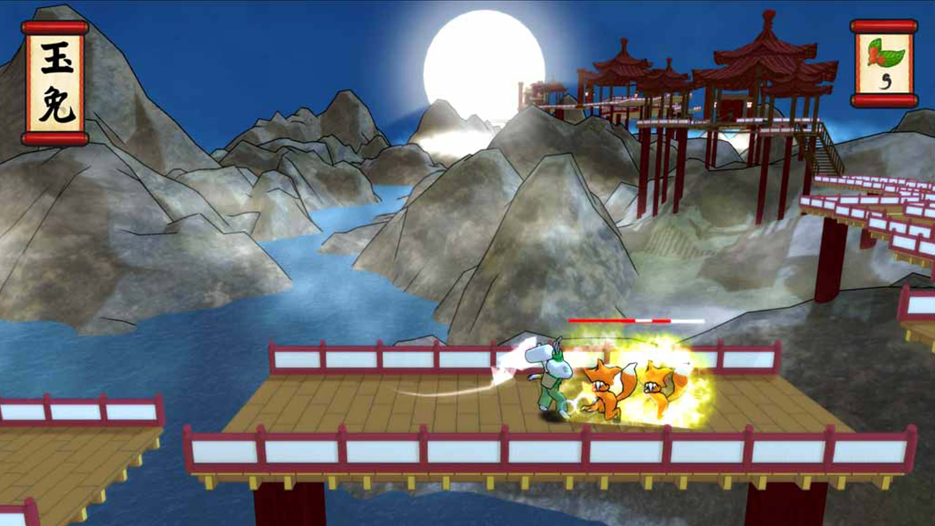 The moon rabbit battles two fox enemies on a bridge with a river, mountains, and a bright moon in the background