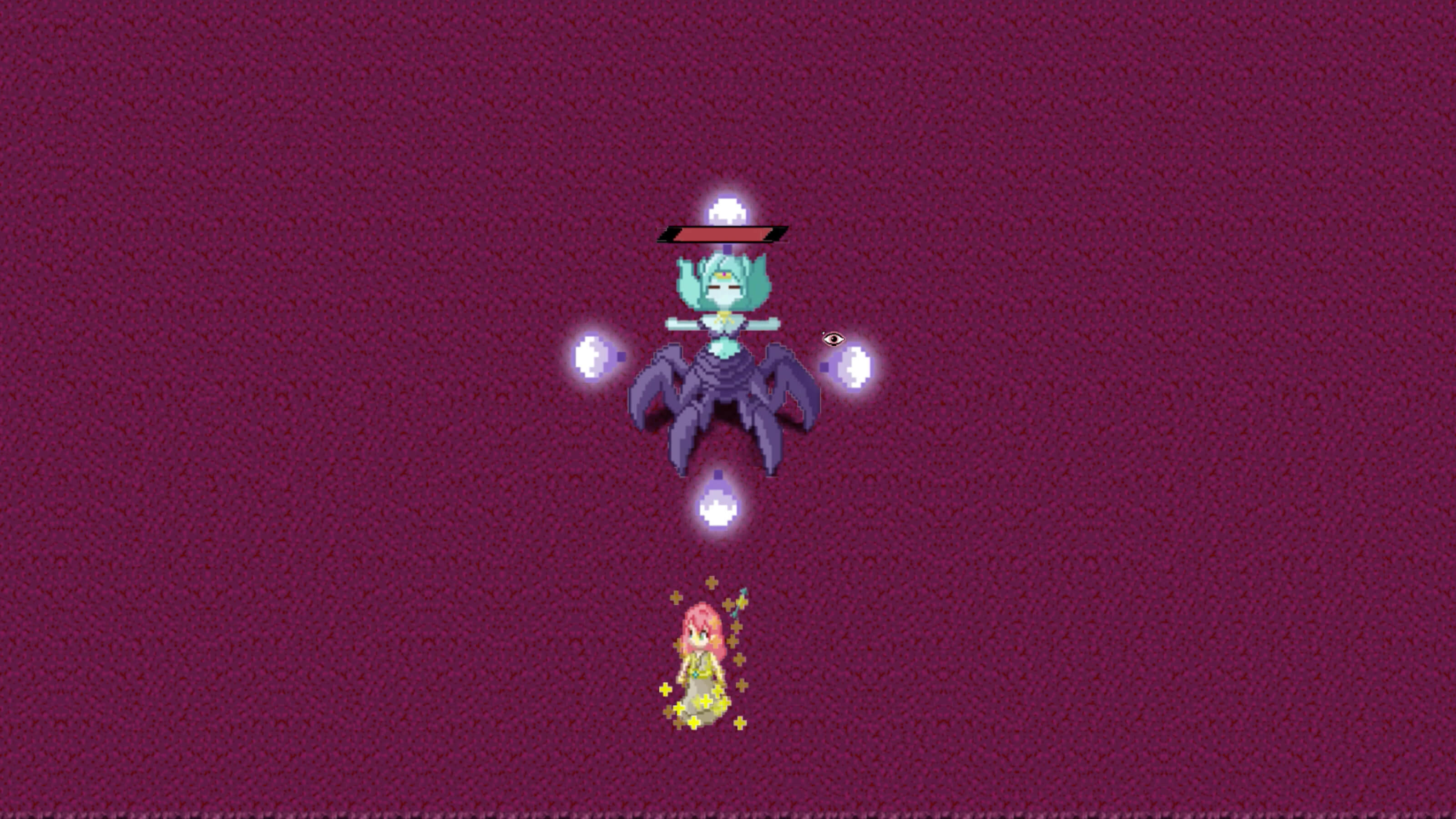 A turquoise-colored boss with six purple legs is surrounded by four floating violet orbs of light