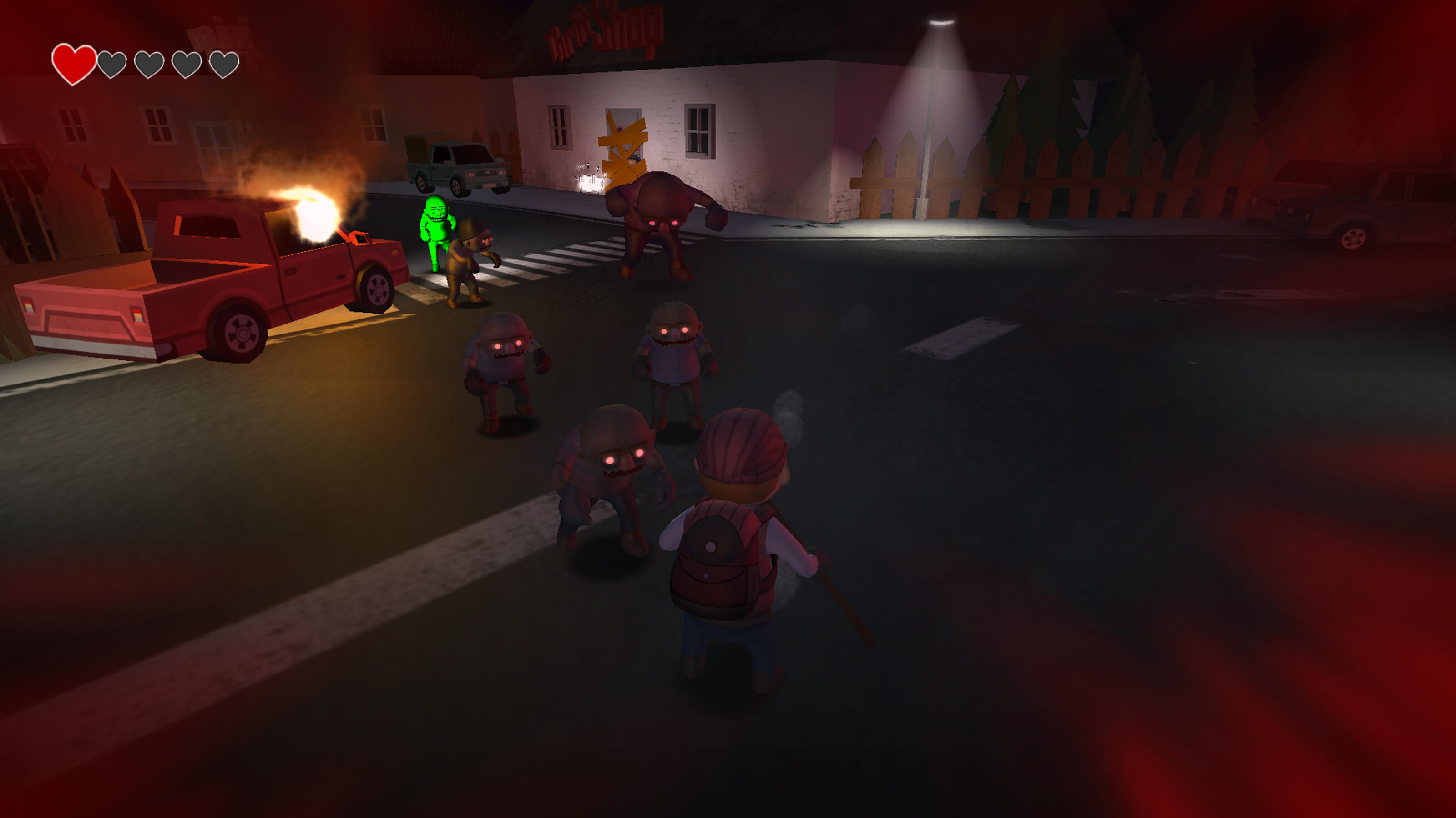 Zombies shamble toward the player's character at an intersection. A pickup truck is on fire on the curb.
