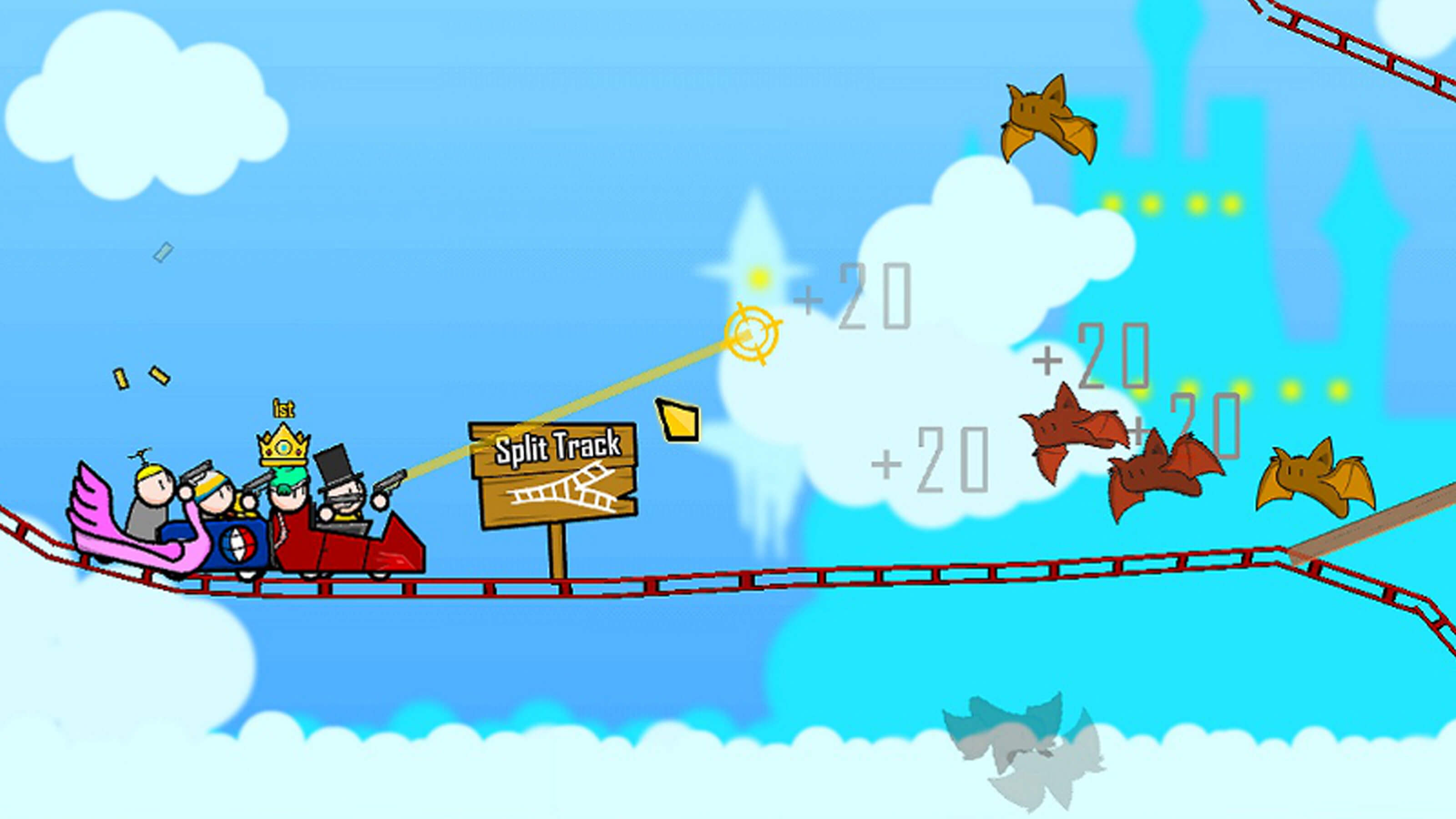 Four player characters on a roller coaster track suspended high in the sky take aim at incoming bats