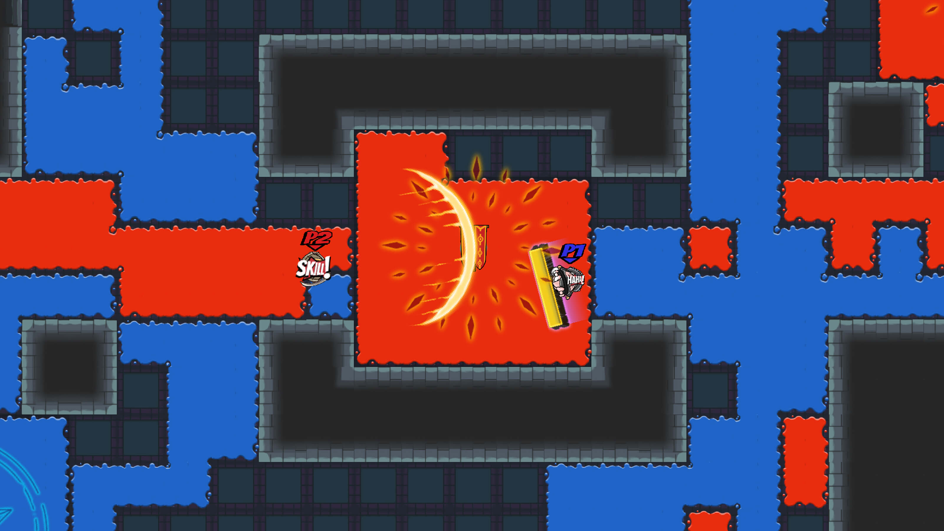 Two players in a top-down map fight each other by attempting to paint the floor with their own colors