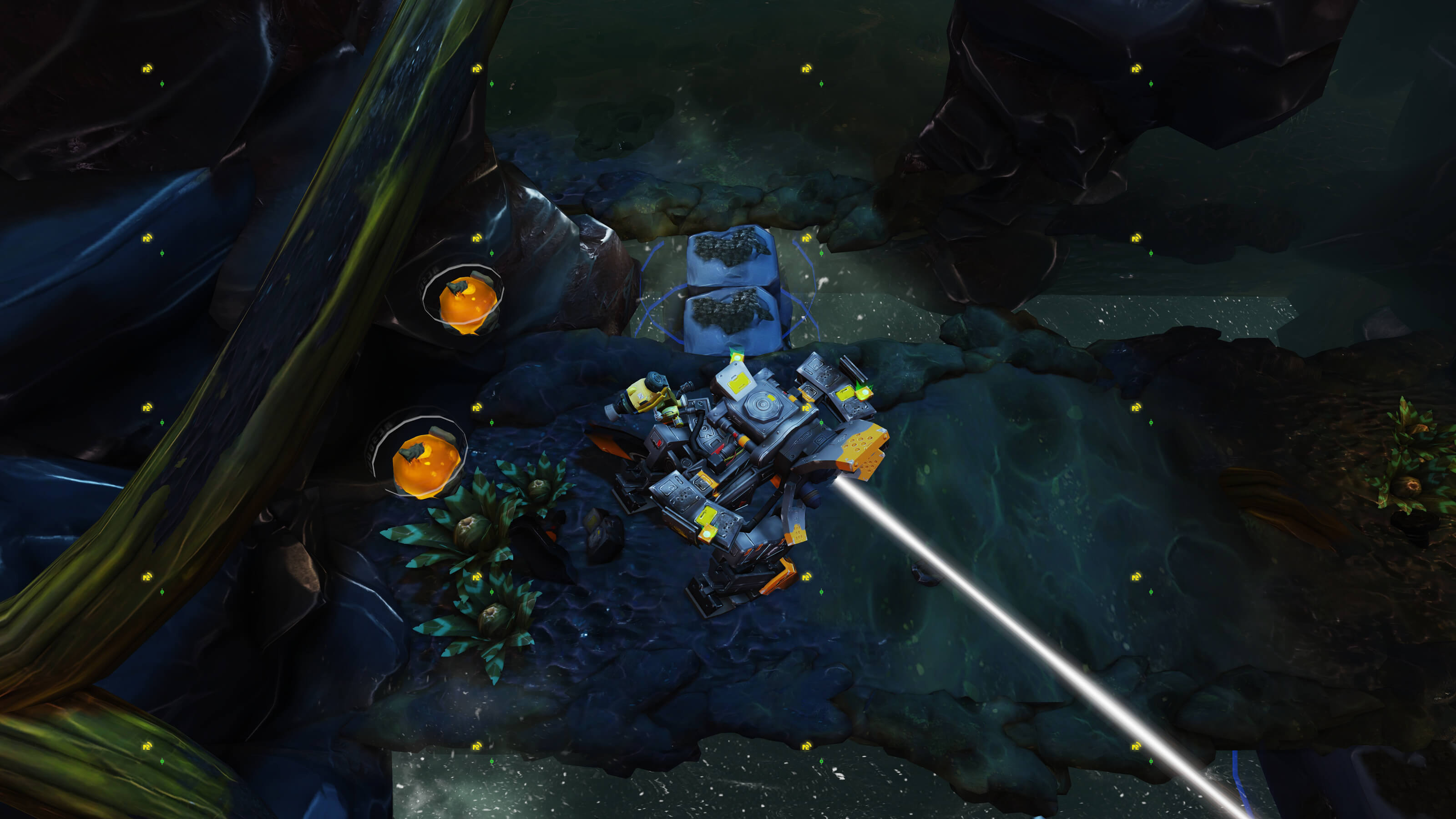 A battle mech shoots a white laser in an underground passage