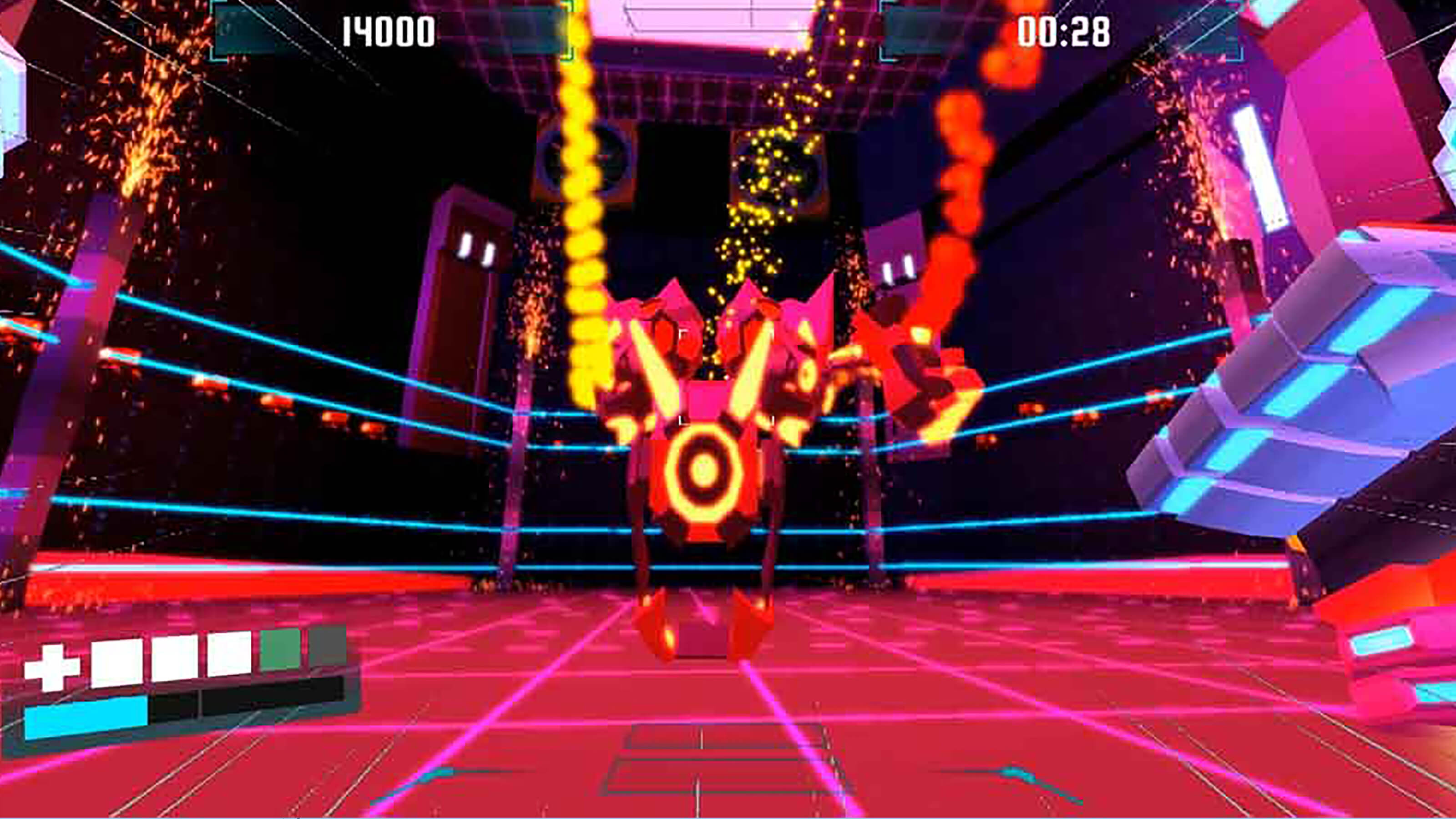 A large red and magenta robot with glowing orange highlights stands in a fighting ring lined by neon blue lasers.