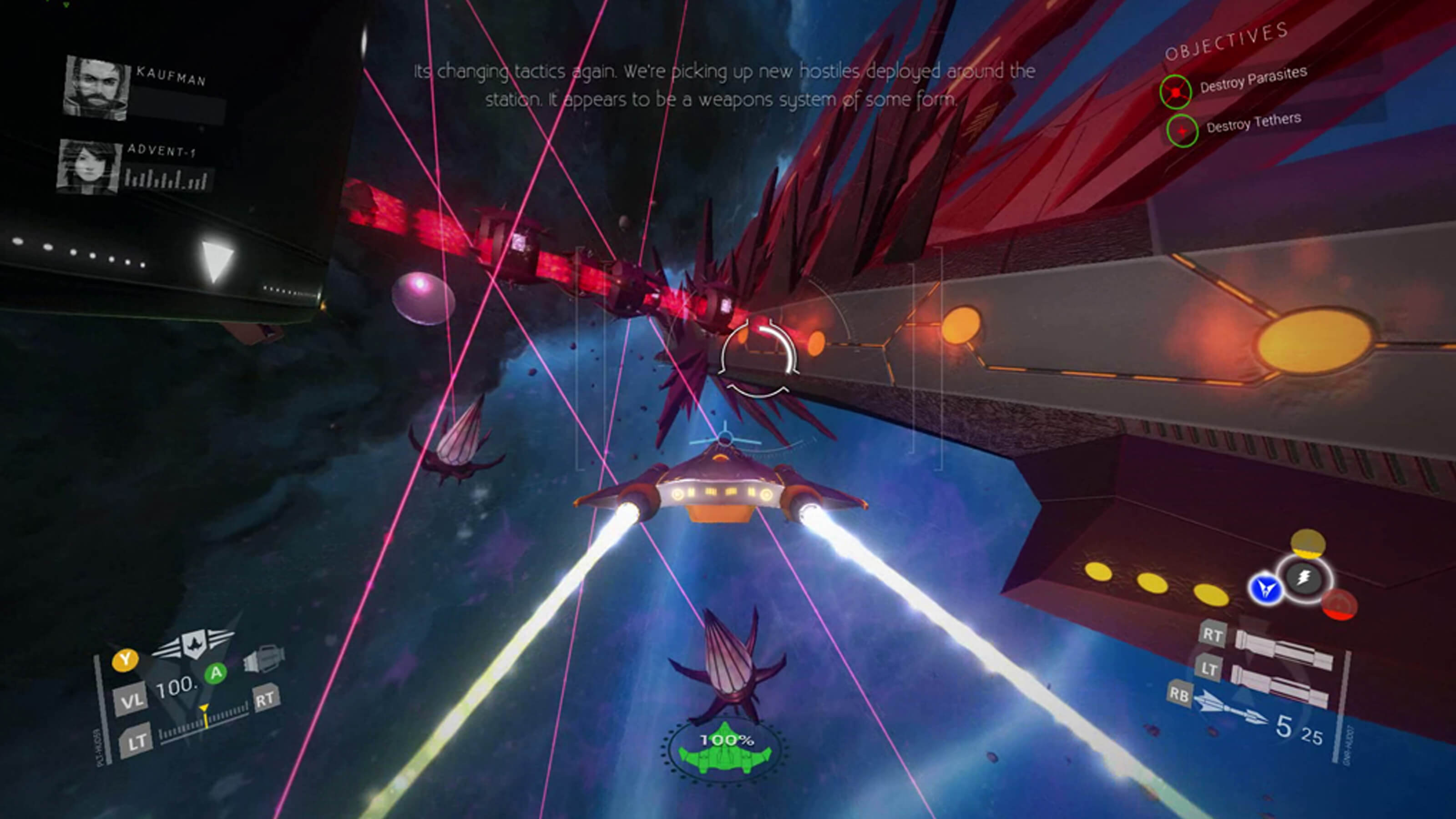 The player's spacecraft cruises toward a massive, angular boss ship. Flower-bud shaped enemies stand in the way
