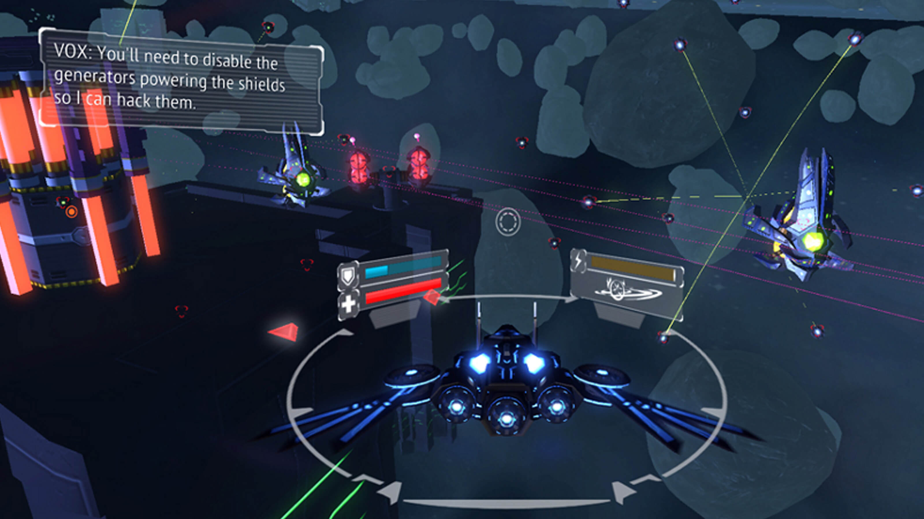 The blue and black space ship approaches enemies with a space station and asteroid field in the background.