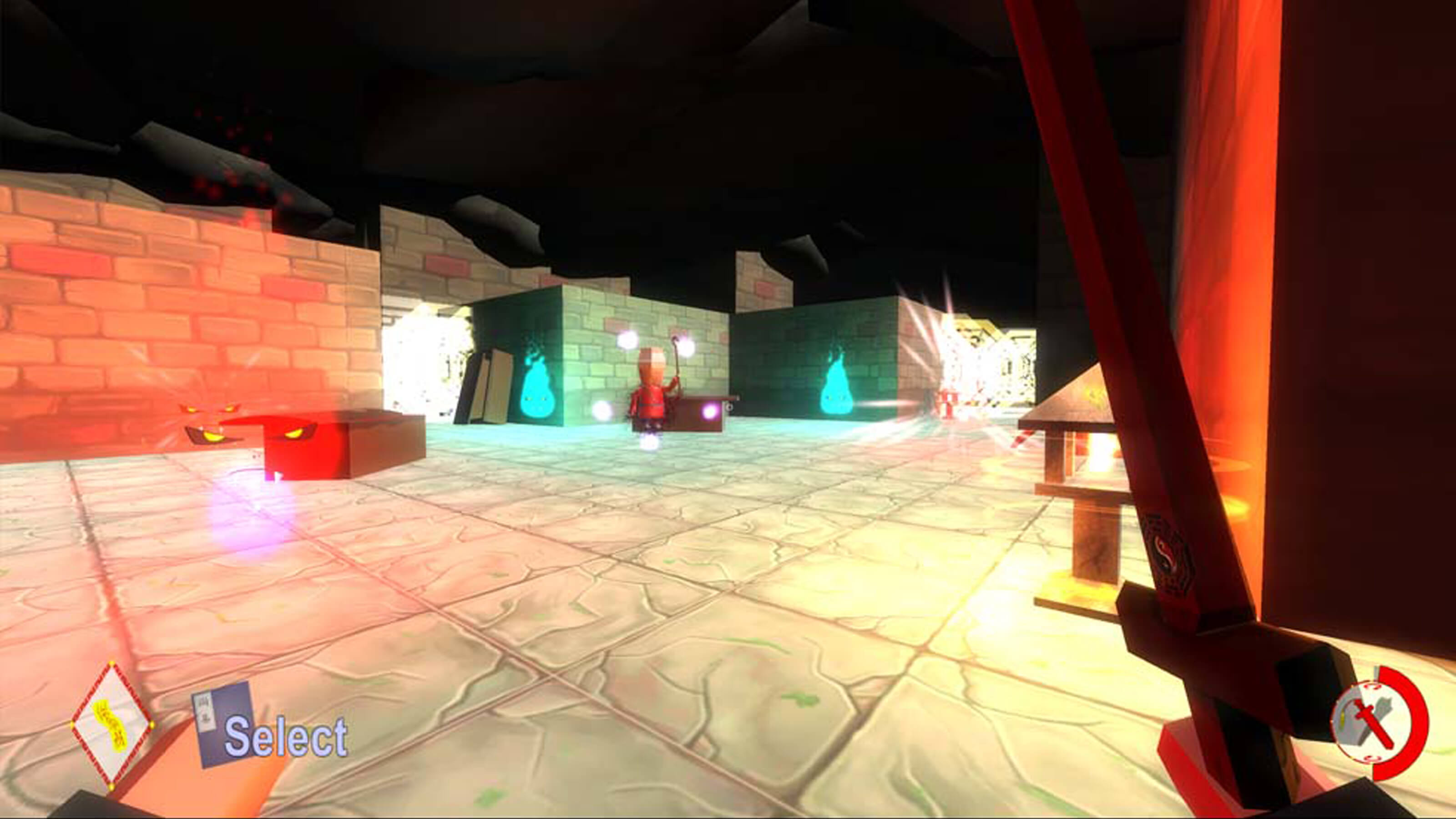 In first-person view, an enemy stands ahead surrounded by floating pink spheres and aqua flame balls
