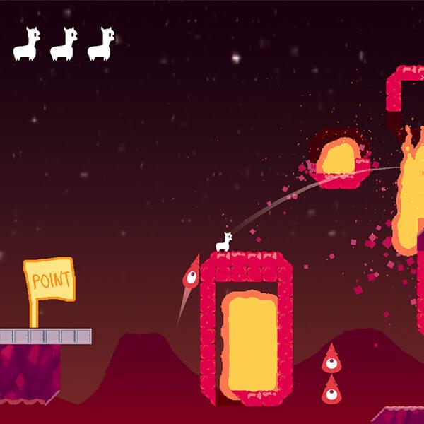 A small, white, two-dimensional alpaca shoots its ballistic spit through destructible terrain on a fiery lava level.
