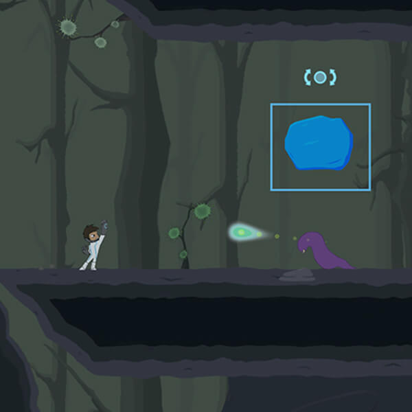A futuristic 2D character levitates a boulder above the head of a purple slug alien in a rocky, dimly lit world.