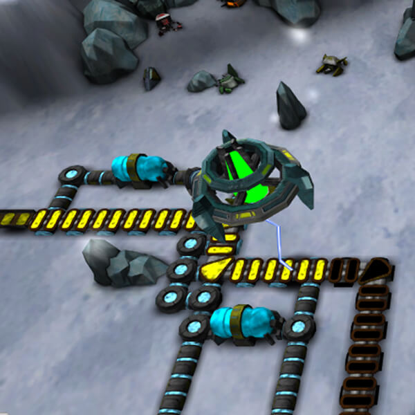 The player's defensive systems are arrayed along blue and yellow tracks, as a green enemy robot flies overhead for an attack