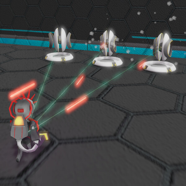 Three enemy sentinel shoot red laserbolts at the player, who is carrying a multi-purpose vacuum cleaner