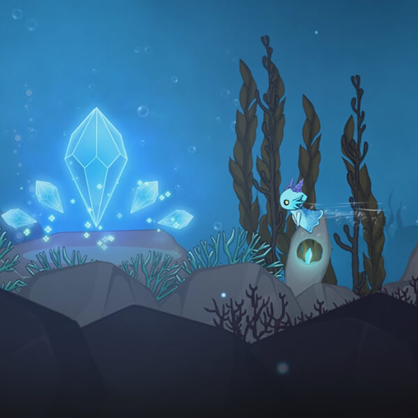 A neon-blue sea creature with purple horns swims toward a collection of floating blue gems underwater.