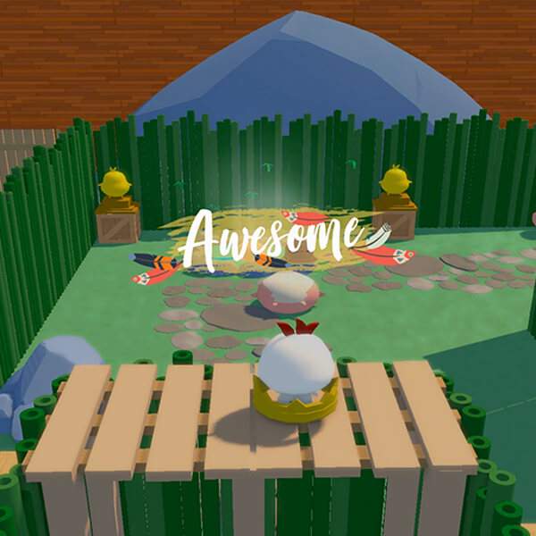 "A small white chicken stands on a wooden hedge maze platform as the word ""awesome"" appears in white script above."