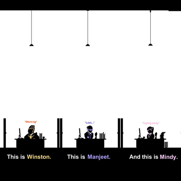 Three flat, 2D characters in silhouette sit at their desks in an office against a stark, white background.