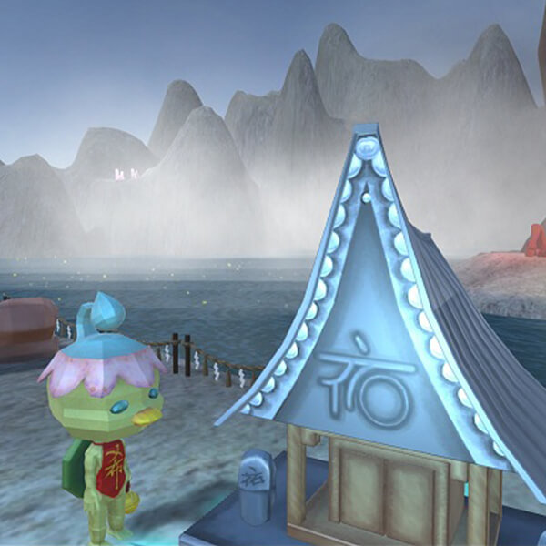 The player's kappa character stands at a small shrine on the shore, with a lake and misty mountains in the background
