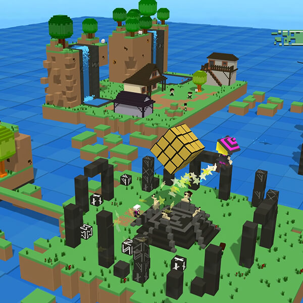 Isometric view of a 3D voxel world, made of green islands filled with ruins, villages, and waterfalls.