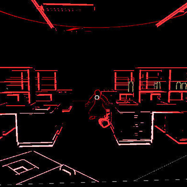 Deprived of sight, the player's perspective is seen in black or red relief. A crouching figure stands between desks