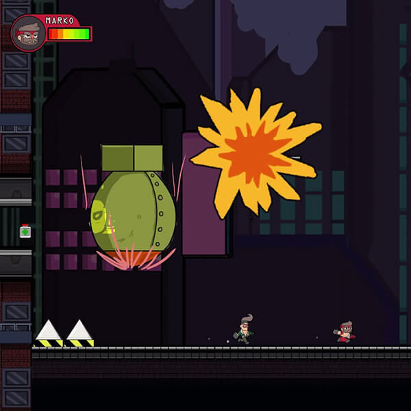 Giant bombs drop near two 2D characters as they run toward a mechanized Statue of Liberty sporting evil, red eyes.