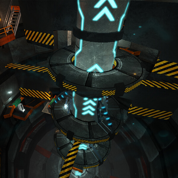 A column marked with glowing blue indicators rises up several stories from the ground to the player's level