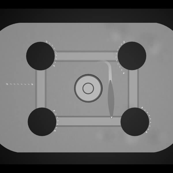Rendered in grayscale, a slug-like creature is seen from top down in an enclosed, rectangular area with four black circles.