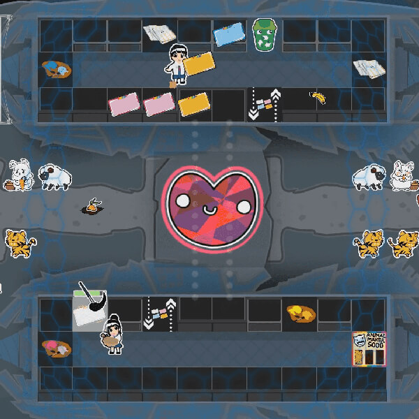 In a top-down underground game level, vibrant animal stickers surround a large, central heart shape with a smiley face.