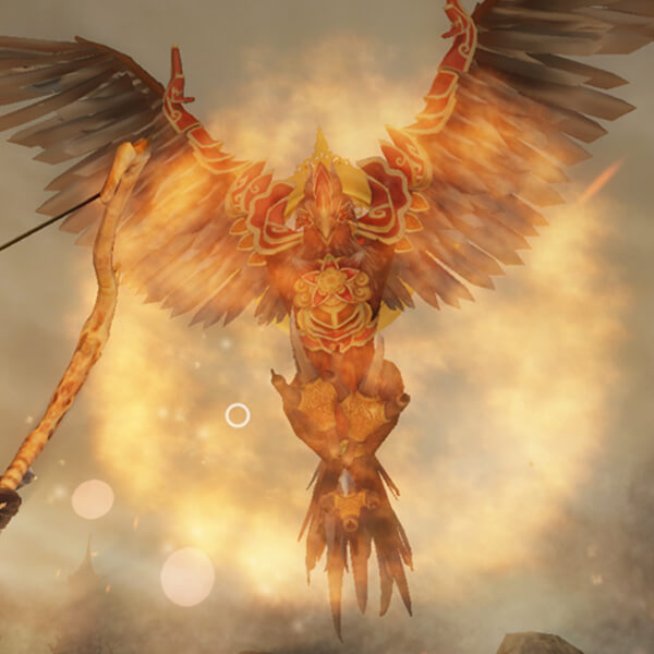 A close-up image of a large, red bird hovering above the player's character. The bird is surrounded by flames.