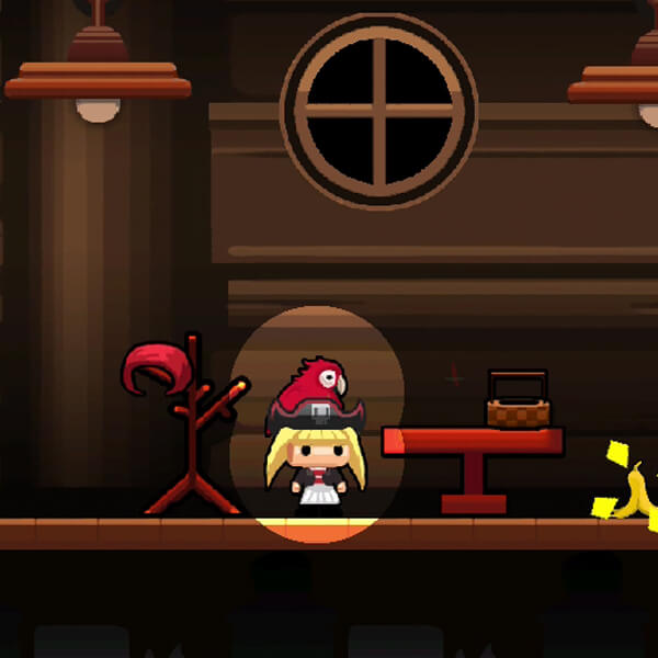 A player's character dressed in a pirate costume with a parrot on her head stands on stage under a spotlight