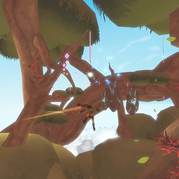 A woman seen from behind leaps through the air among the roots of a giant tree that juts high into the sky.