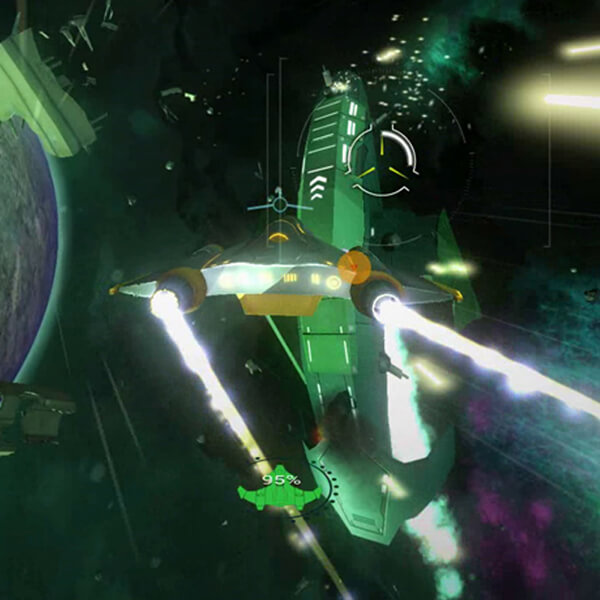 The player's spacecraft is seen from the rear as its engines leave exhaust behind it. A green enemy ship is seen ahead of it.
