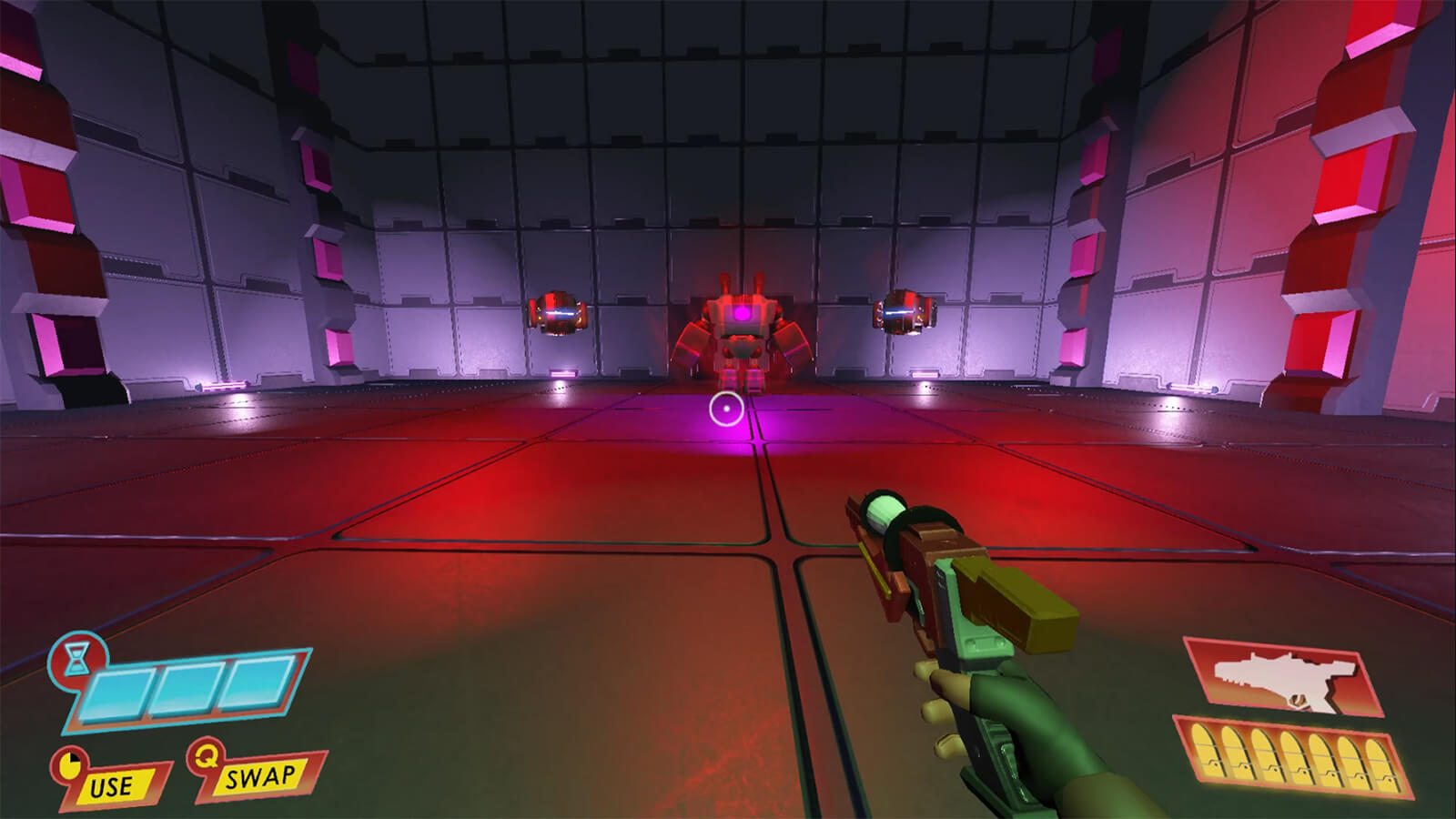 First-person view of large, sterile, room holding a futuristic pistol aimed at a tall attack robot to the front.