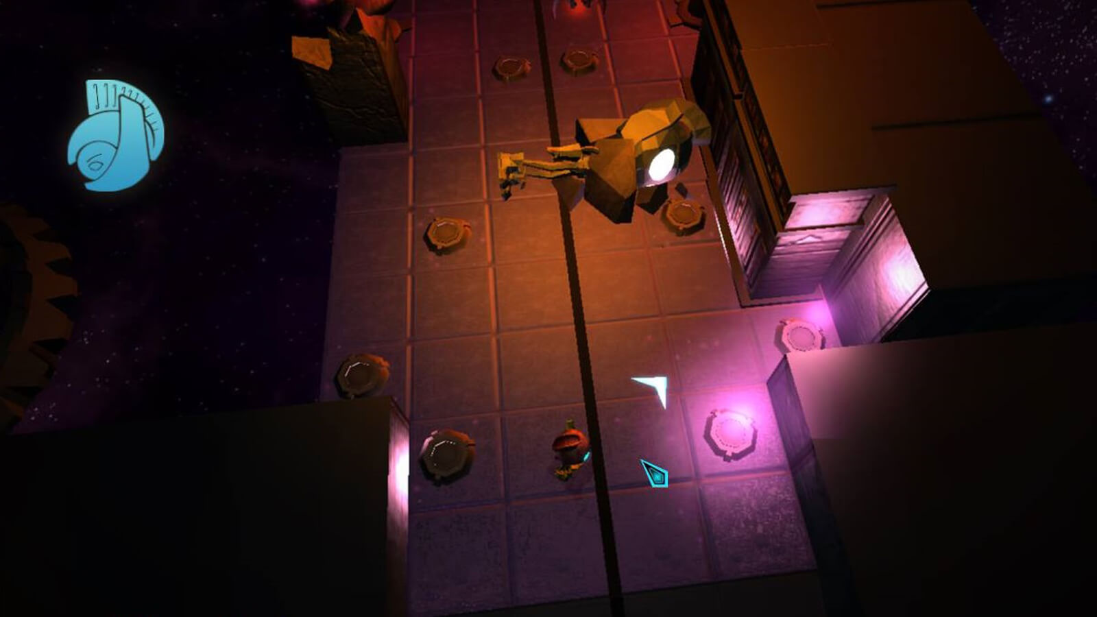 The player's character stands near glowing pink pedestals as a toppled statue lies nearby