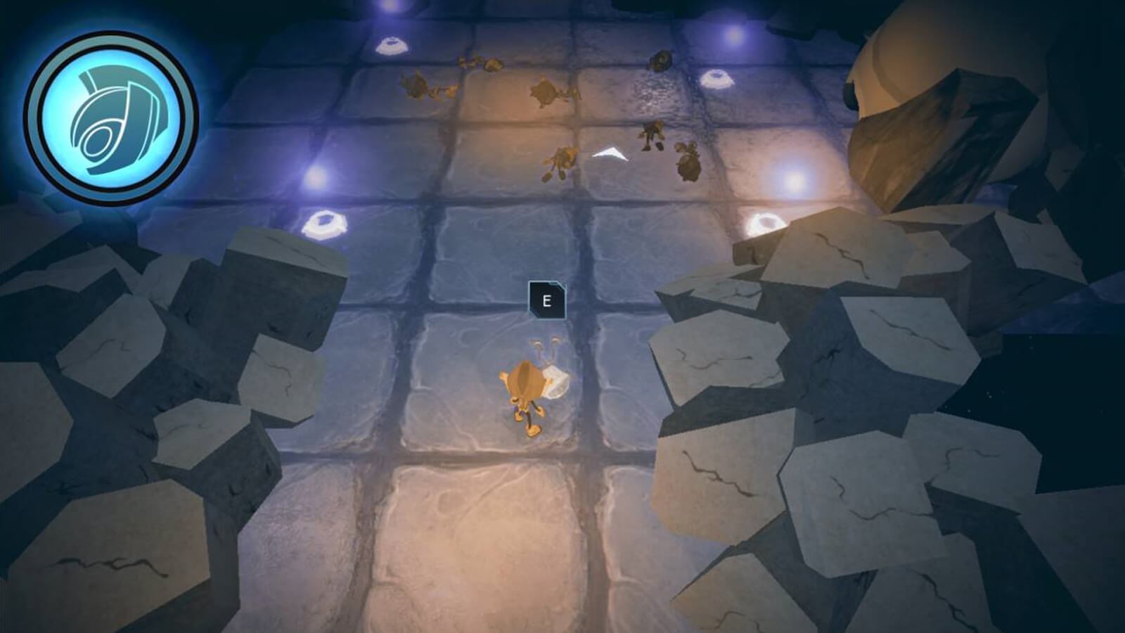 The player's character stands between two piles of broken stone rubble with several defeated enemies seen ahead