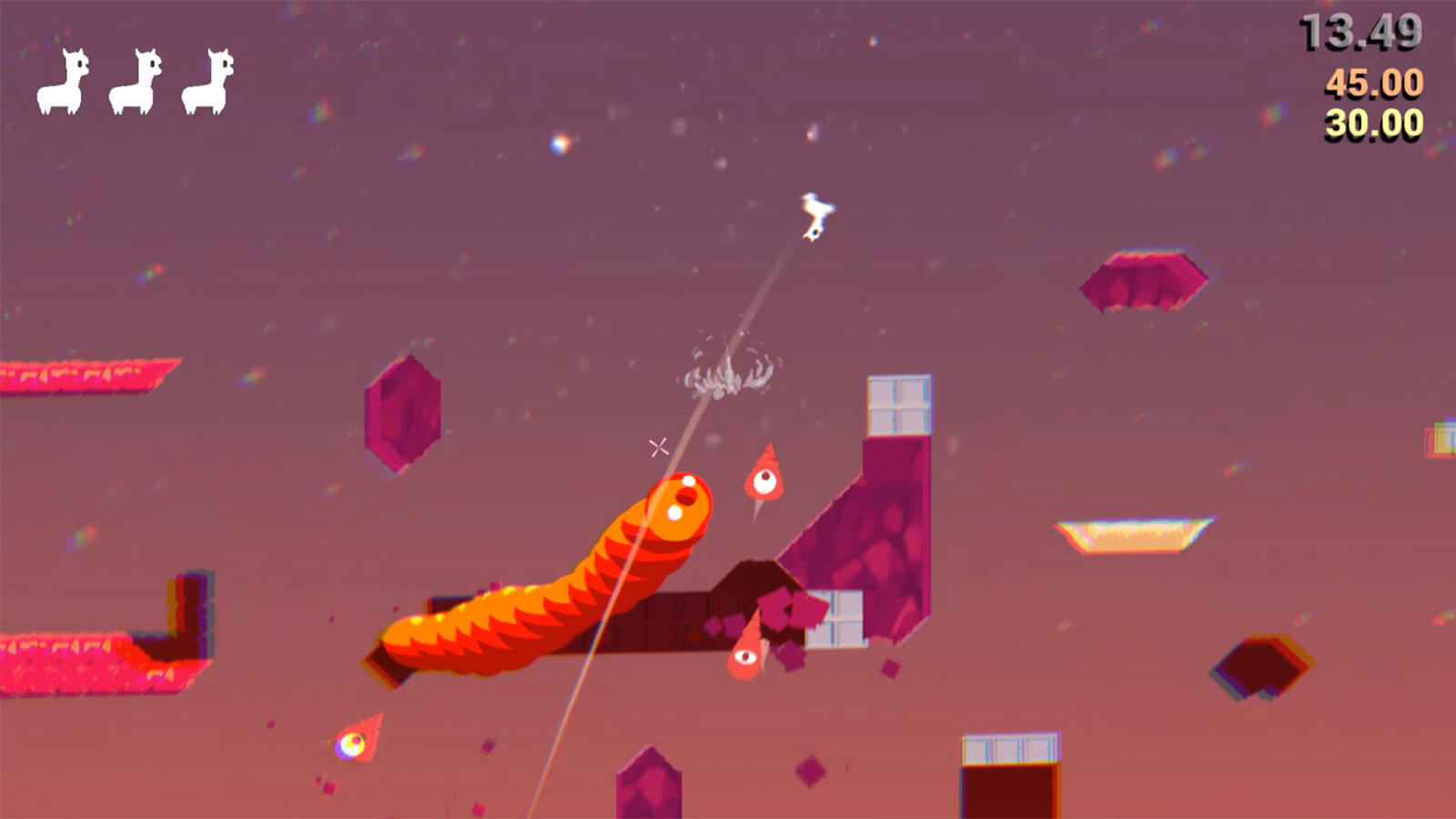 A small, white, two-dimensional alpaca flips through the air spitting at orange drill-shaped and worm-shaped enemies.