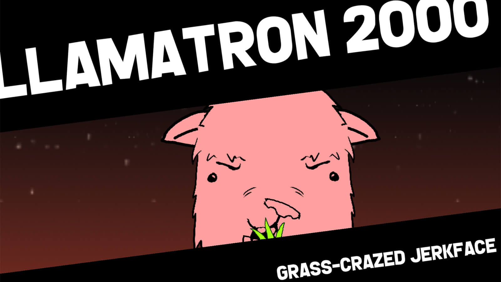 "Head-on shot of a 2D-painted pink llama chewing grass. ""Llamatron 2000"" is seen in white letters above."