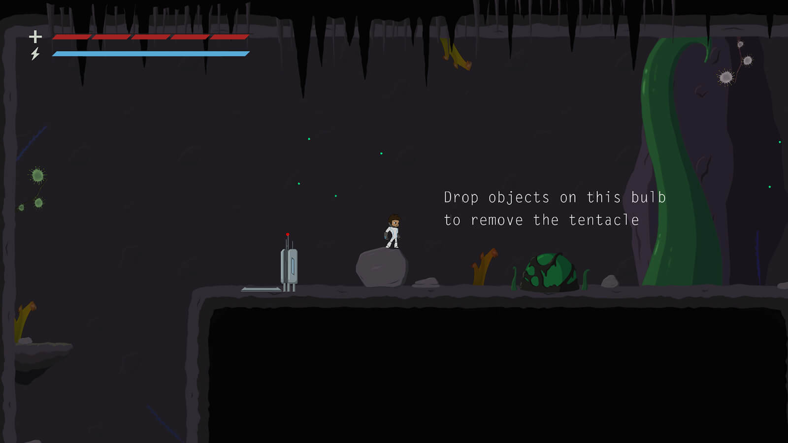 A futuristic 2D character in a white body suit stands in front of a towering green tentacle on a dark, alien world.