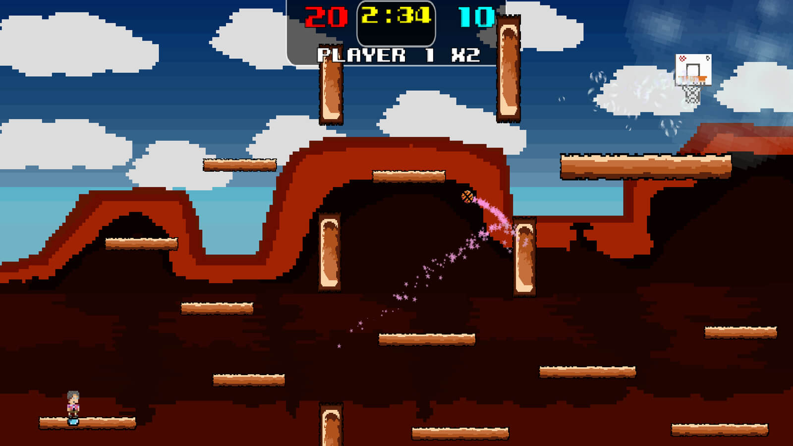 A desert level with floating wooden platforms. A basketball with pink star particles behind it bounces off a platform.