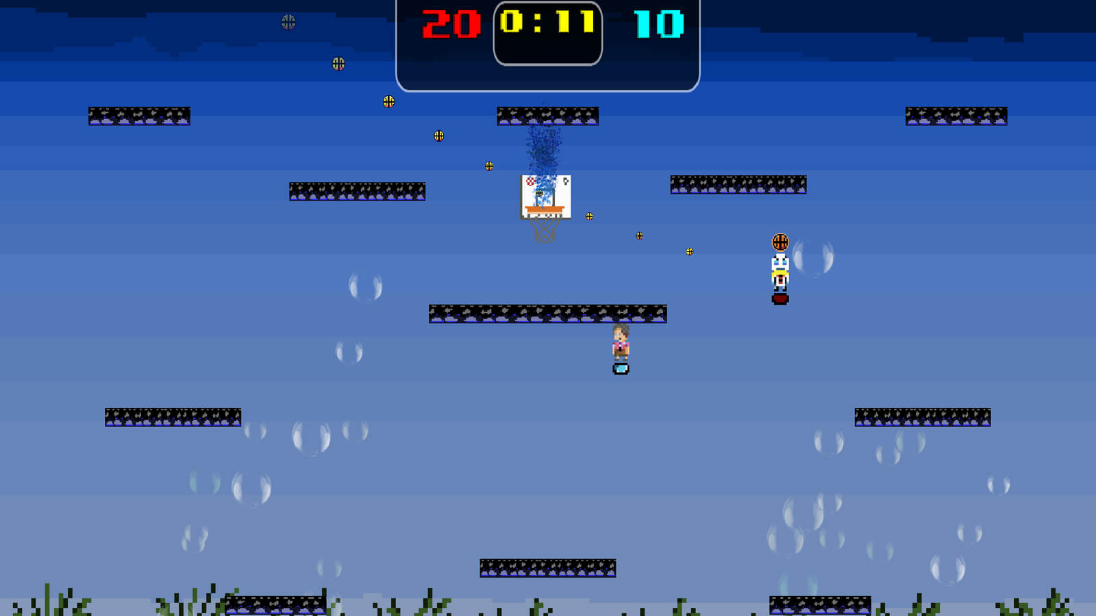 An underwater level with kelp and bubbles. A character is taking shots on the basket.