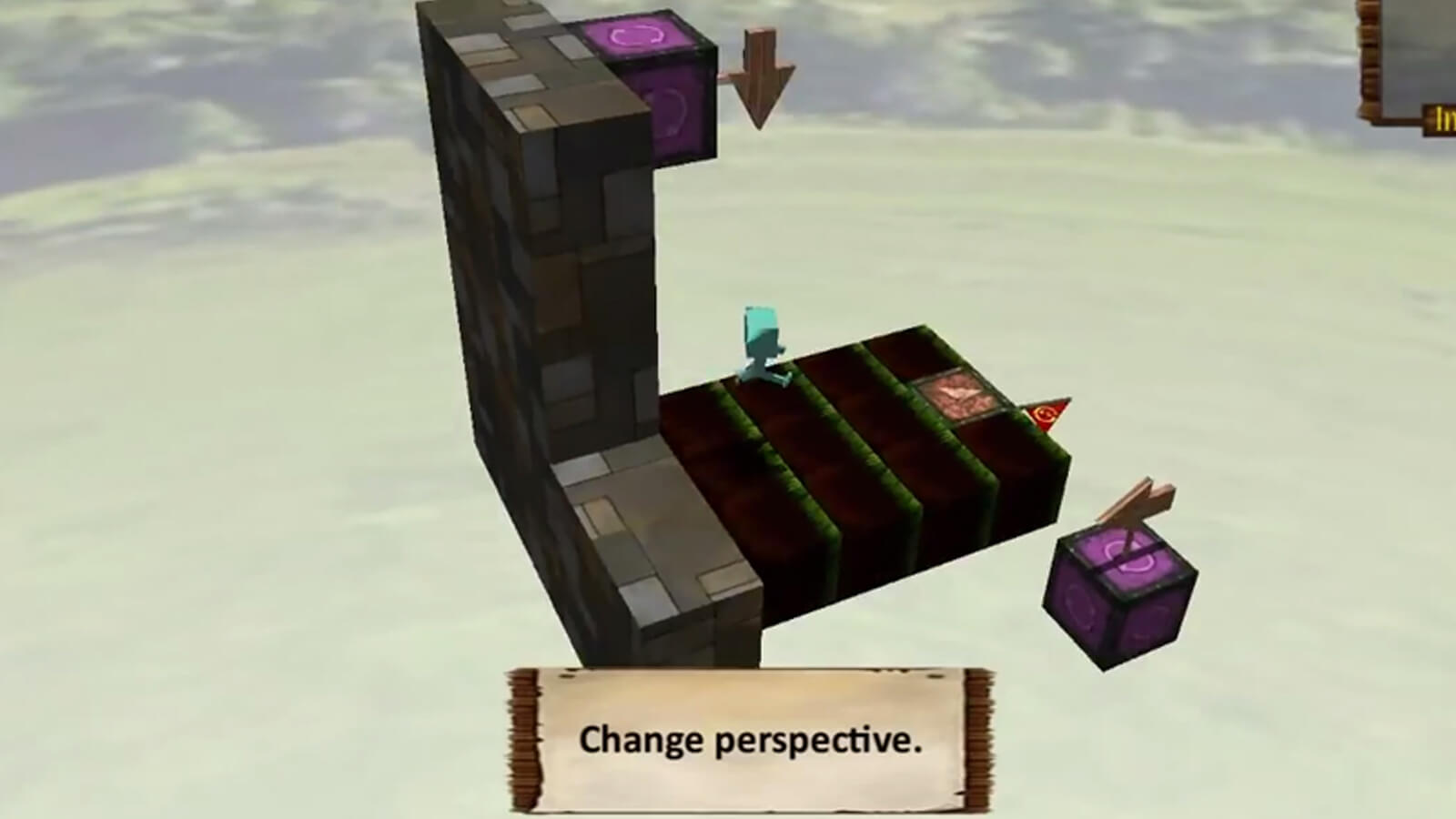 "A character runs along the recently upturned wall face. The words ""Change Perspective"" appear on screen."