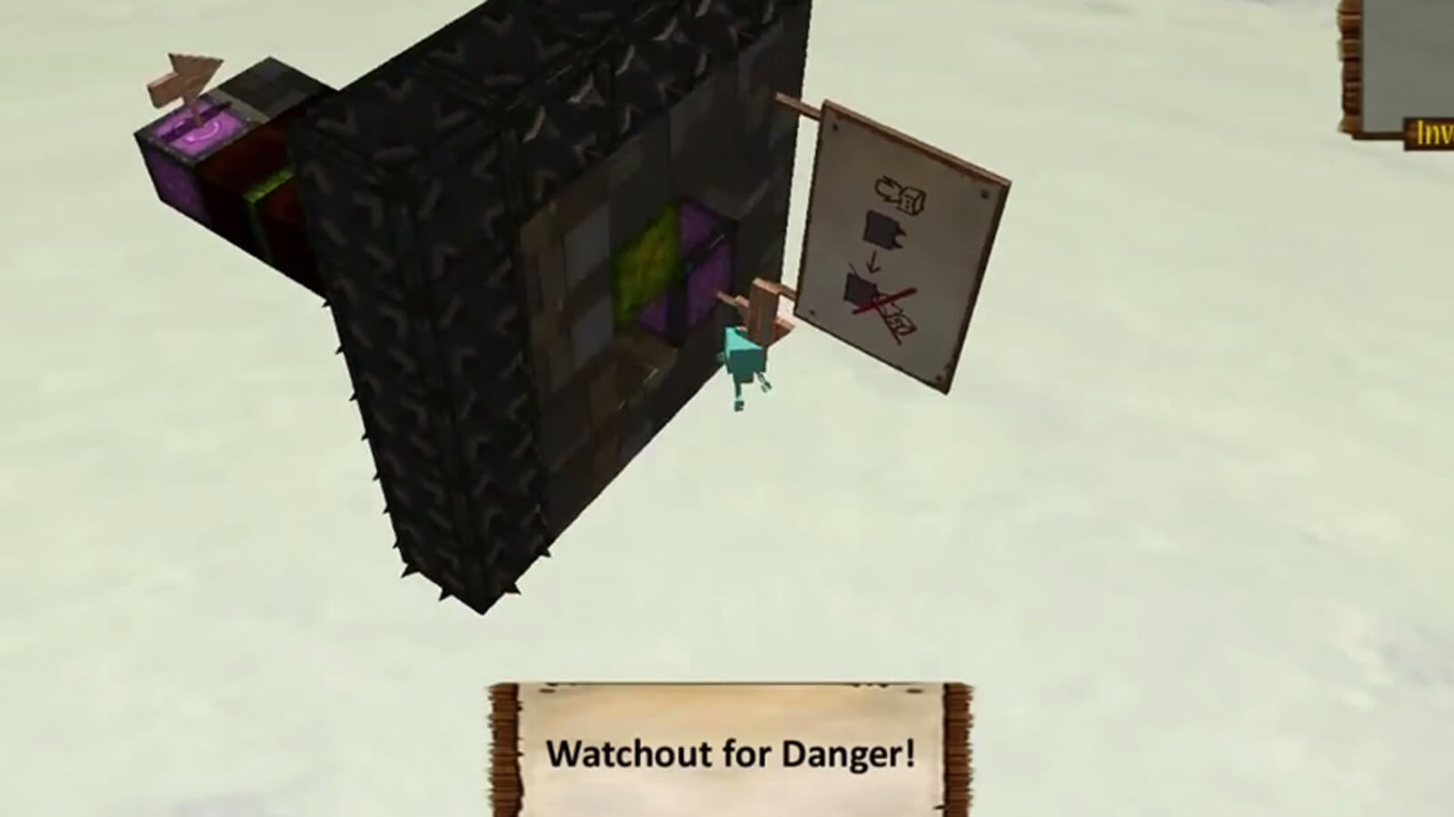 "The floating platform flips, dropping the player into the void. ""Watchout for Danger!"" appears on screen."