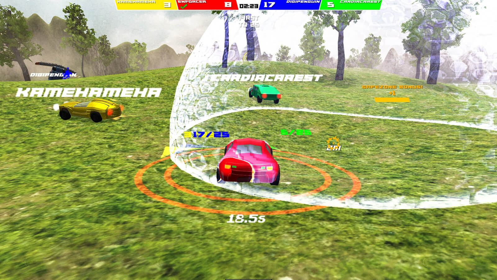 A red car enters a translucent bubble dome as yellow and green cars speed away