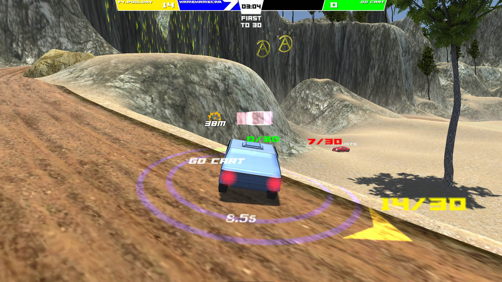 A blue car surrounded by several vital statistics in a HUD about to careen off the road
