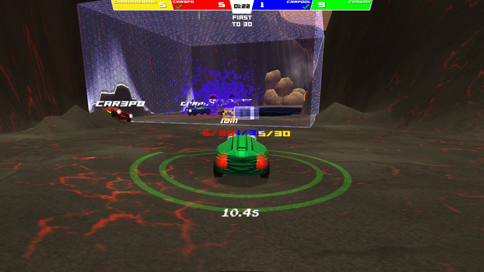 A blue car escapes a blue particle explosion as a green car sits in the foreground
